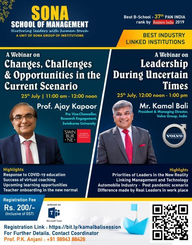 "Webinar on ""Leadership During Uncertain Times"" by Mr. Kamal Bali, President & Managing Director, Volvo Group, India"
